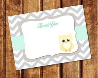 Owl Chevron Blank Thank You Note - INSTANT DOWNLOAD - You Print