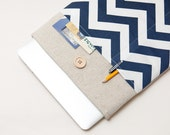"40% OFF SALE White Linen MacBook 12 Case. Case with navy blue chevron pocket for MacBook 12 Retina. Sleeve for MacBook 12"" inch."