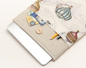 60% OFF Winter SALE White Linen MacBook 13 Case. Case for MacBook 13 Pro (non retina). Sleeve for MacBook 13 Pro with air balloons pocket