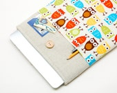 White Linen MacBook Case. Case for MacBook 15 Pro Retina. Sleeve for MacBook 15 Pro with retro owls pocket. MacBook Cover
