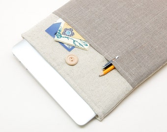 "40% OFF SALE Natural linen MacBook Case. Case for MacBook 12 Retina. Sleeve for MacBook 12"" inch. Macbook cover."