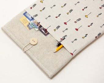 """Natural linen MacBook Case. Case with tiny tulips pocket for MacBook 12 Retina. Sleeve for MacBook 12"""" inch"""