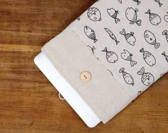 """50% OFF SALE White Linen MacBook 12 Case. Case with fish pattern pocket for MacBook 12 Retina. Sleeve for MacBook 12"""" inch."""