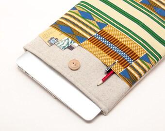50% OFF SALE White Linen MacBook PRO Case. Case for MacBook 15 Pro Retina. Sleeve for MacBook 15 Pro with African kente style pocket.