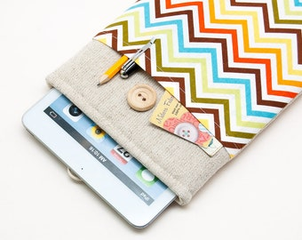 White Linen Google Nexus case. Cover for google nexus 9. Sleeve with sheep pocket for google nexus 9""