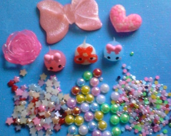 Kawaii teardrops pink bow decoden phone deco diy cabochon charm mix # 469---USA seller