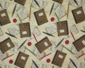 REMNANT--Brown on Beige Journal Print Pure Cotton Fabric--One Yard