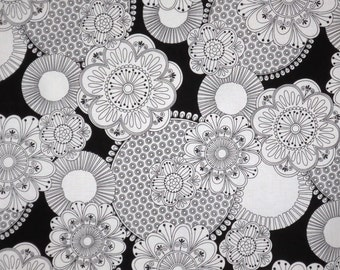 Black and White Floral Print Pure Cotton Fabric-One Yard