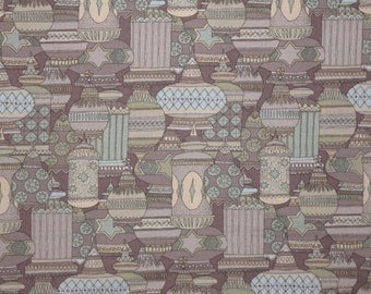 ON SALE Neutral Green and Brown Georgetown Geometric Print Pure Cotton Fabric--One Yard