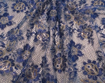 ON SALE REMNANT--Royal and Metallic Gold French Chantilly Lace Fabric--1.25 Yards
