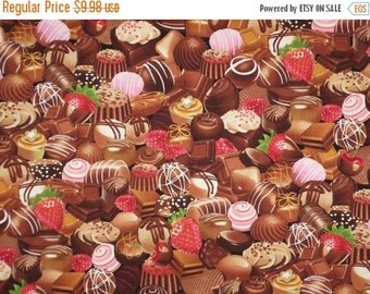 ON SALE Chocolate Candy Assortment Print Pure Cotton Fabrics--One Yard