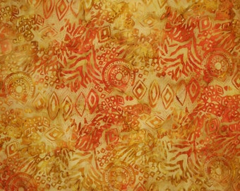 REMNANT--Orange and Golden Yellow Ethnic Print Tonga Batik Pure Cotton Fabric--One Yard