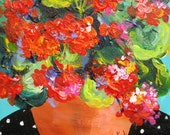 """Geraniums Original Painting Mini Canvas art gift for her 8"""" x 8"""" Art by Elaine Cory"""