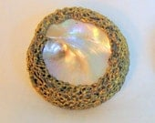 Vintage Bird's Nest Mother of Pearl Button Large Iridescent Beauty MOP Handmade for your crafting project or collection