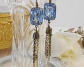 Light Sapphire Earrings, Art Deco Earrings, Gatsby Flapper Wedding, Dangle Earrings, Retro Glam, Blue Earrings, Vintage Bride, Punk Rock