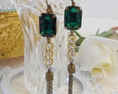 Emerald Earrings, Art Deco Earrings, Gatsby Flapper Wedding, Dangle Earrings, Retro Glam, Green Earrings, Vintage Bride, Punk Rock Earrings
