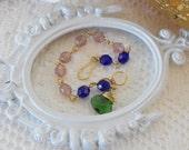 Crystal Bracelet, Layering Bracelet, Stacking Bracelet, Dangle Bracelet, Boho Bracelet, Color Block, Handmade Bracelet, Green Blue Pink Gold