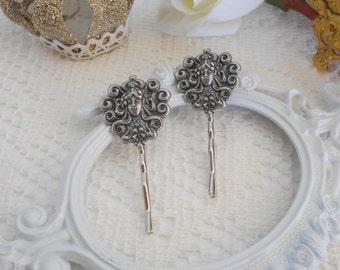 Art Nouveau Hair Pins, Bobby Pin Set, Whimsical Hair, Vintage Inspired, Bridal Hair Pins, Silver Hair Pins, Medusa Head, Grecian, SET OF 2