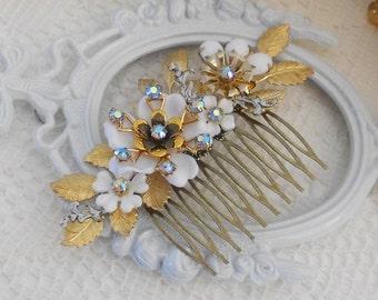 Gold Leaf Hair Comb, Flower Hair Comb, Floral Hair Comb, Assemblage Hair Comb, Collage Hair Comb, Something Blue, Vintage Wedding Hair