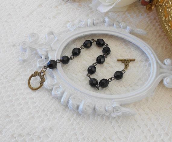 Black Crystal  Bracelet, Black Glass Bracelet, Glass Bead Bracelet, Layering Bracelet, Black Bracelet, Black Jewelry, Bridesmaid Gifts