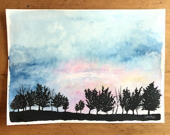 Morning Light - Original Sunrise Watercolor Painting 11x15