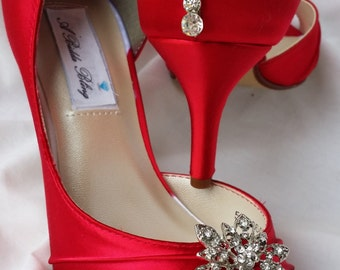 Wedding Shoes Red Bridal Shoes Vintage Style Flower Brooch and Teardrop Crystals Over 100 Custom Color Choices
