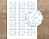 Blue and Grey Baptism Favor Tags, Digital Baptism Thank You Tags, Christening, Printable, Stickers, INSTANT DOWNLOAD