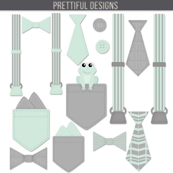 Boy Onesie Accessories Clip Art Pocket Handkerchief Suspender
