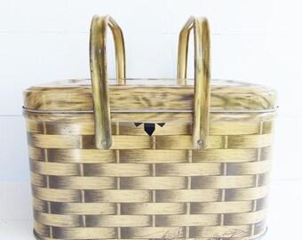 Vintage  Metal Picnic Basket Tin, Swing Handles, Basket Weave Metal Storage Tin