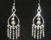 Pewter-colored Glass Bead Chandelier Earrings