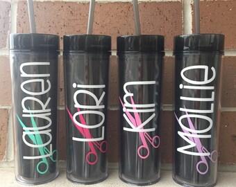 Custom Tumbler Hair Stylist // Cosmetology Water Bottle Straw Cup