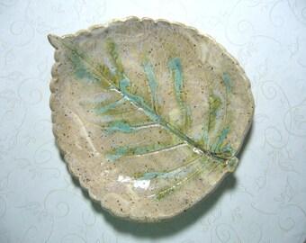 Aqua Canyon Pottery Leaf Dish or Bowl