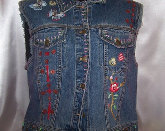Embroidered Vest, Womens Small, Blue Jean, Vintage Clothing, Hippie, Beaded, BoHo, Button Down, Git Idea