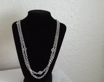 """On sale MONET Necklace silver plate chain floral medallion 54"""" long"""
