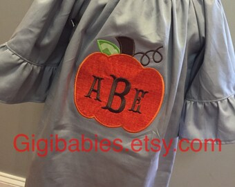 Gray pique peasant dress with pumpkin applique and monogram by gigibabies