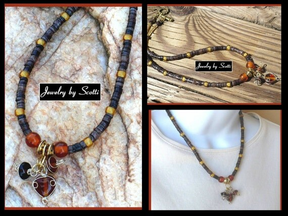 Amber Charms Necklace Brown Gold Lampwork Glass Pewter Celestial Beads Wire Wrapped Gold Tone Toggle Clasp 16 inches