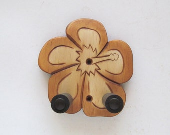 Unique ukulele wall mount hanger, hand carved hibiscus