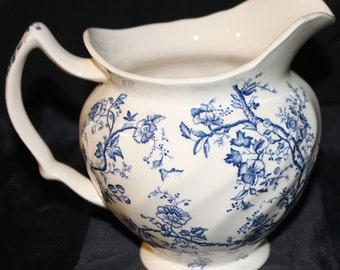 Ceramic Pitcher- Neiman Marcus- Vintage Made in England Blue and White Floral Onion design Pitcher