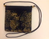"""Golden Autumn Leaves Quilted Fabric Snap Bag Purse Handbag 7-1/2"""" X 7-1/2"""""""