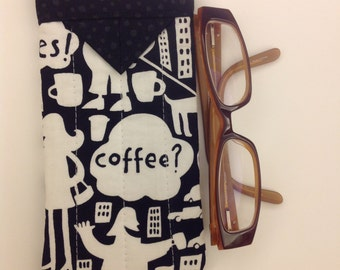 Black and White Coffee Print Snap Eyeglasses Case Handmade