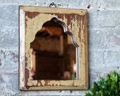 Mirror Reclaimed Vintage Indian Door Panel Wall Hanging Art Distressed Mustard Yellow Mirror Moroccan Decor Turkish