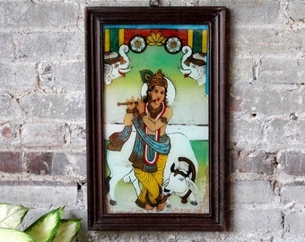 Vintage Indian Painting of Lord Krishna Hindu Deity Traditional Artwork Global Folk Art Reverse Painted Glass Wall Decor