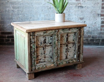 SALE! Trunk Table Side Table Chippy Cream Green Chest Salvaged Wood Planks and Iron Reclaimed Antique Door Indian Furniture