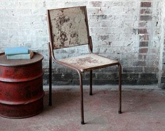 Set of 2 Vintage Metal Stacking Chair Indian Events Chair Heavy Duty Industrial Steel Bistro Garden Outdoor Steelmade