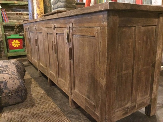 Reserved SALE Long And Low Reclaimed Antique Sideboard Media