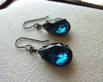 MYSTICAL DABBLER-Vintage Rhinestone BlueZircon Teal Blue Pears Hand Antiqued Earrings