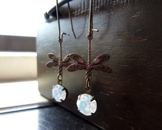 TAWNY NYMPHS- Antiqued Copper Dragonflies with Swarovski Crystal White Opal Earrings