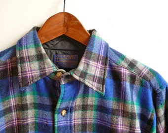 Vintage Pendleton Plaid Wool Shirt Mens Medium Made in USA