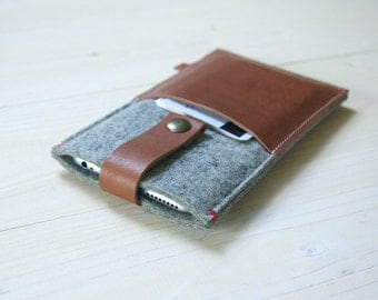 IPHONE 6 PLUS +  WALLET case - felt leather - grey - pocket cover, also in black and sandbrown