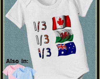 short sleeve and long sleeve 1/3 Australian 1/3 Welsh 1/3 Canadian baby infant  Bodysuit - Australian Flag - Canada Flag - Welsh Flag